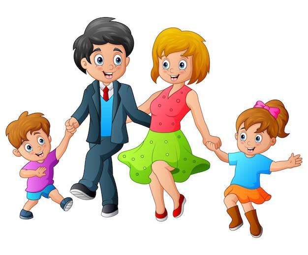Ilustração dos desenhos animados de uma família feliz dançando
