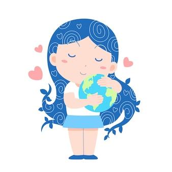 Ilustração dos desenhos animados de uma garota abraçando o dia mundial da terra, dia mundial da humanidade, dia mundial da paz.