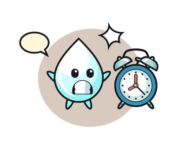 Ilustração dos desenhos animados de uma gota de leite é surpreendida por um despertador gigante