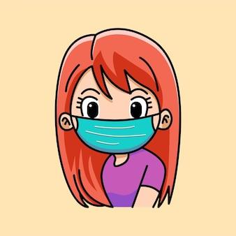 Ilustração dos desenhos animados de uma linda garota usando máscara cirúrgica