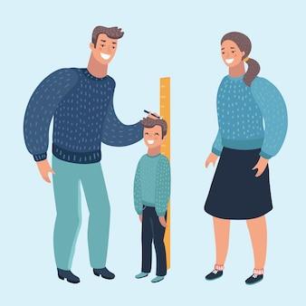 Ilustração dos desenhos animados de uma mãe e um pai medindo a altura atual de seu filho. caráter moderno humano em backgrund isolado.