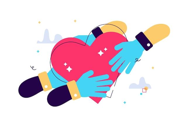 Ilustração dos desenhos animados de uma mão segurando um ícone de coração passado de mão em mão.