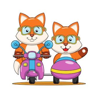 Ilustração dos desenhos animados de uma raposa fofa andando de moto