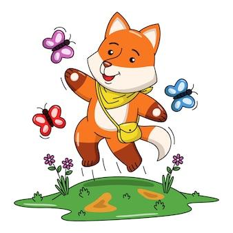 Ilustração dos desenhos animados de uma raposa fofa brincando com uma borboleta