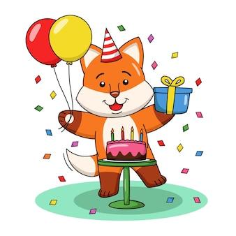 Ilustração dos desenhos animados de uma raposa fofa comemorando um aniversário