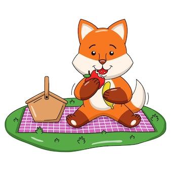 Ilustração dos desenhos animados de uma raposa fofa comendo frutas