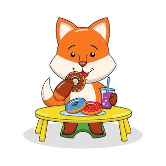 Ilustração dos desenhos animados de uma raposa fofa comendo um donut