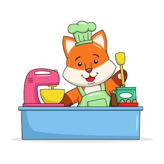 Ilustração dos desenhos animados de uma raposa fofa fazendo um bolo