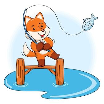 Ilustração dos desenhos animados de uma raposa fofa pescando um peixe