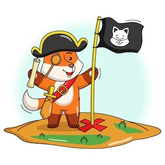 Ilustração dos desenhos animados de uma raposa pirata fofa