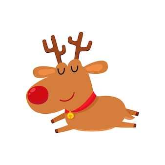 Ilustração dos desenhos animados de uma rena fofa e cansada com nariz vermelho, sono isolado no branco