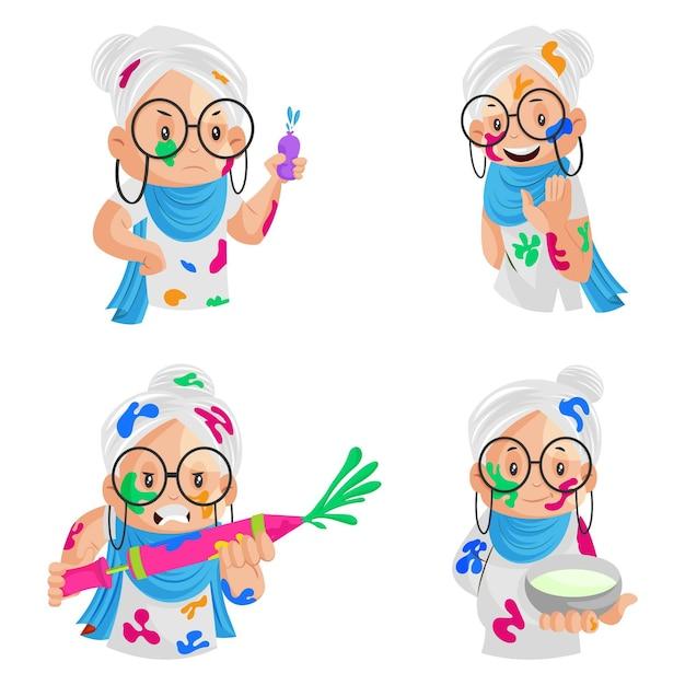 Ilustração dos desenhos animados de uma senhora celebrando o conjunto de caracteres holi