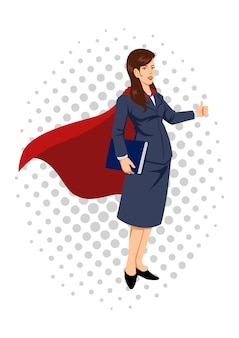 Ilustração dos desenhos animados de uma super empresária