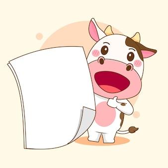 Ilustração dos desenhos animados de uma vaca fofa segurando um papel vazio