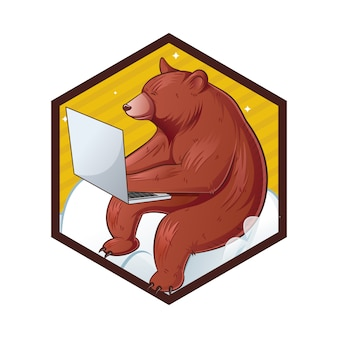 Ilustração dos desenhos animados de urso bonito.