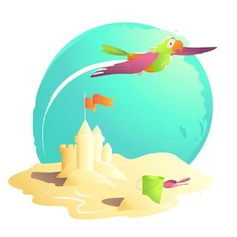 Ilustração dos desenhos animados de verão. castelo de areia, balde, pá, bandeira. ilustração de verão, capa de livro, propaganda. banner, cartaz, impressão. cartão de férias. sol de verão.