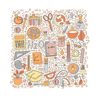 Ilustração dos desenhos animados de volta ao material escolar.