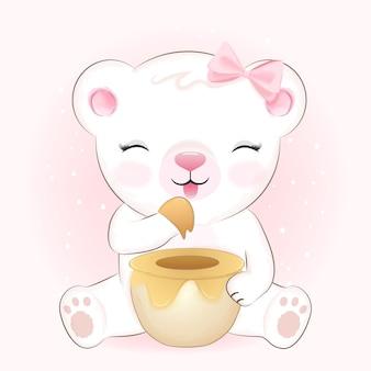Ilustração dos desenhos animados desenhados à mão do ursinho fofo e do pote de mel
