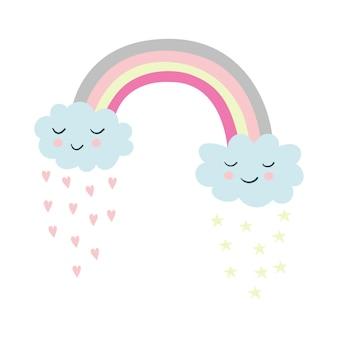 Ilustração dos desenhos animados do arco-íris, estrelas, nuvens, corações, ilustrações vetoriais fofas para crianças