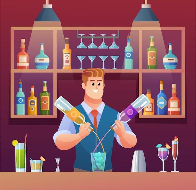 Ilustração dos desenhos animados do barman preparando bebidas no balcão do bar