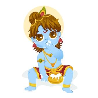 Ilustração dos desenhos animados do bebê krishna comendo manteiga