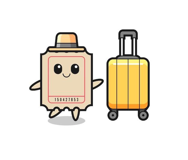 Ilustração dos desenhos animados do bilhete com bagagem de férias, design de estilo fofo para camiseta, adesivo, elemento de logotipo