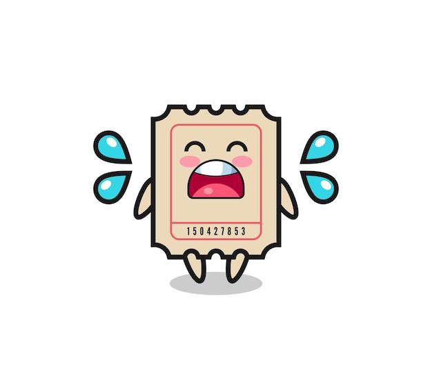 Ilustração dos desenhos animados do bilhete com gesto de choro, design de estilo fofo para camiseta, adesivo, elemento de logotipo