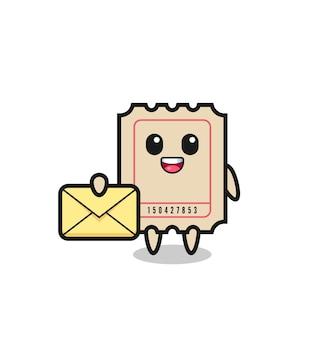 Ilustração dos desenhos animados do bilhete segurando uma letra amarela, design de estilo fofo para camiseta, adesivo, elemento de logotipo