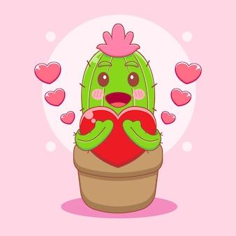 Ilustração dos desenhos animados do cacto fofo abraçando o personagem do amor
