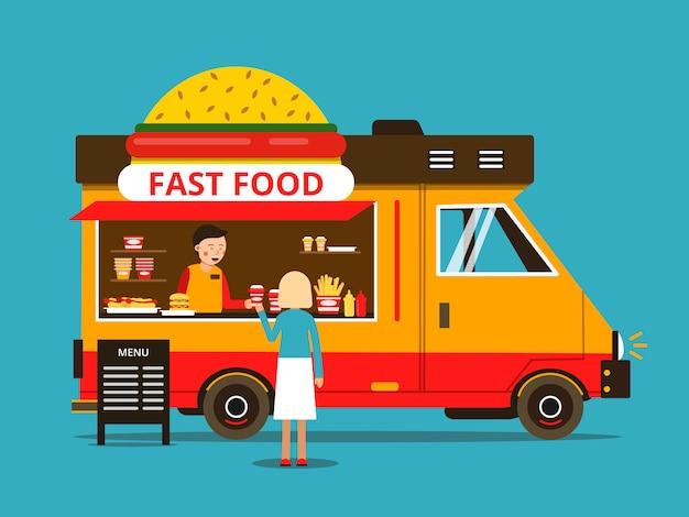 Ilustração dos desenhos animados do caminhão de comida na rua Vetor Premium
