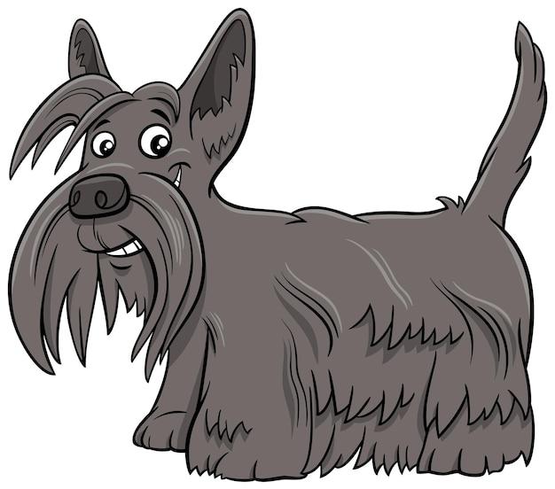 Ilustração dos desenhos animados do cão de raça pura scottish terrier