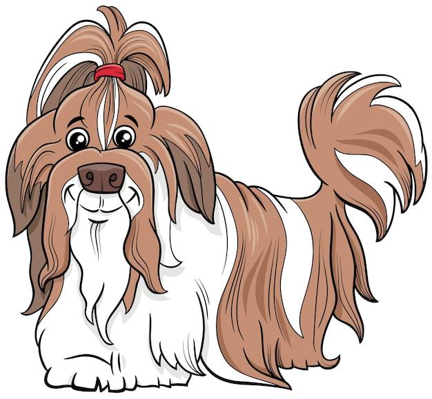 Ilustração dos desenhos animados do cão de raça shih tzu