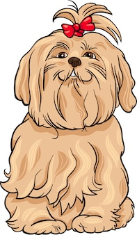 Ilustração dos desenhos animados do cão maltês
