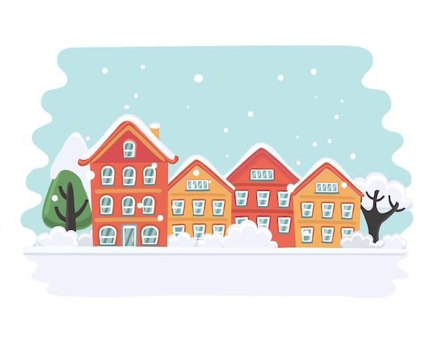 Ilustração dos desenhos animados do cartão de natal com belas casas nevadas e árvores