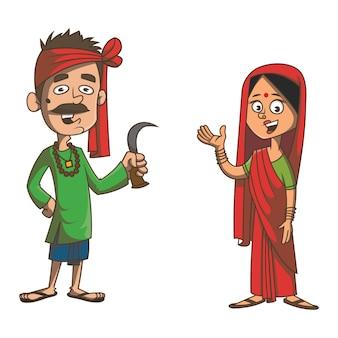 Ilustração dos desenhos animados do casal bihar.