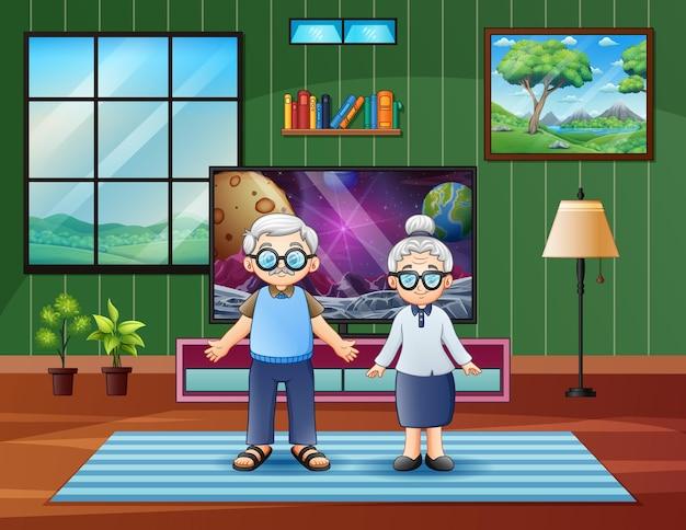 Ilustração dos desenhos animados do casal de idosos em casa