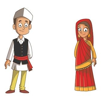 Ilustração dos desenhos animados do casal uttarakhand.