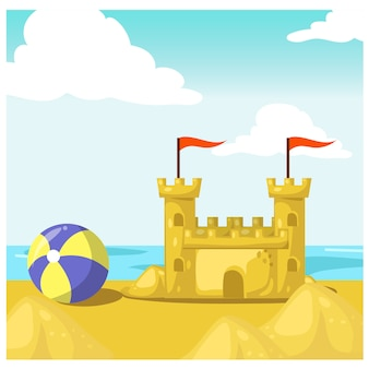 Ilustração dos desenhos animados do castelo de areia, bola de praia, mar, praia. ilustração