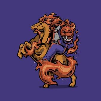 Ilustração dos desenhos animados do cavaleiro-chefe de halloween com abóbora
