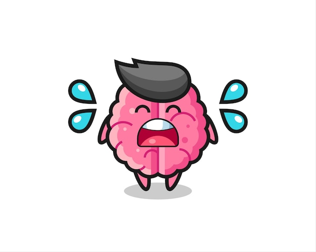 Ilustração dos desenhos animados do cérebro com gesto de choro, design de estilo fofo para camiseta, adesivo, elemento de logotipo