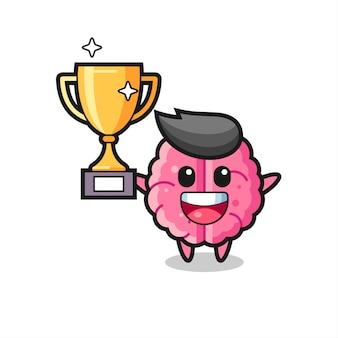 Ilustração dos desenhos animados do cérebro feliz segurando o troféu dourado, design de estilo fofo para camiseta, adesivo, elemento de logotipo