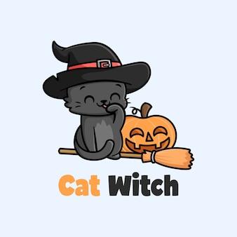 Ilustração dos desenhos animados do chapéu de bruxa usando pequeno gato negro