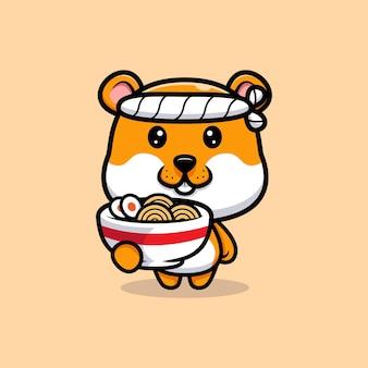Ilustração dos desenhos animados do chef hamster fofo