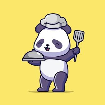 Ilustração dos desenhos animados do chef panda fofo