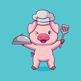 Ilustração dos desenhos animados do chef porco fofo