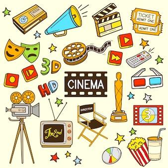 Ilustração dos desenhos animados do cinema cor doodle