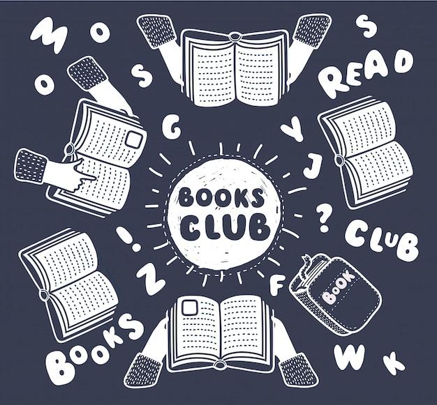 Ilustração dos desenhos animados do clube de leitura. abra livros nas mãos e letras humanas na tabela com ilustração da vista superior das mãos. composição de contorno engraçado em estilo moderno em fundo preto.