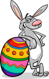 Ilustração dos desenhos animados do coelho e da ovo de páscoa