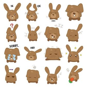 Ilustração dos desenhos animados do coelho set.