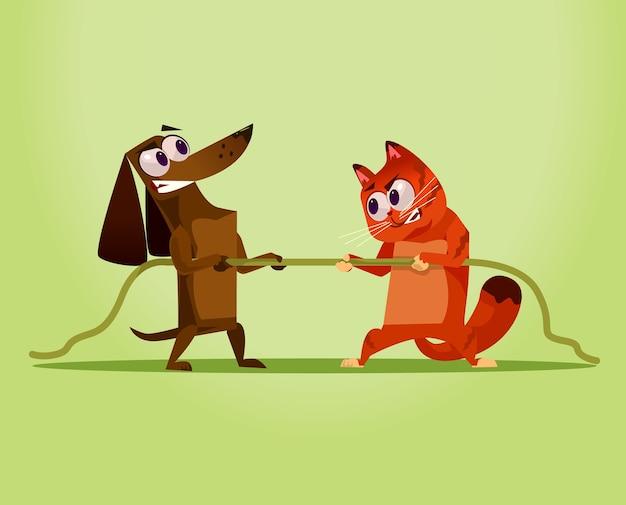 Ilustração dos desenhos animados do conceito da oposição da guerra do gato doméstico do inimigo irritado